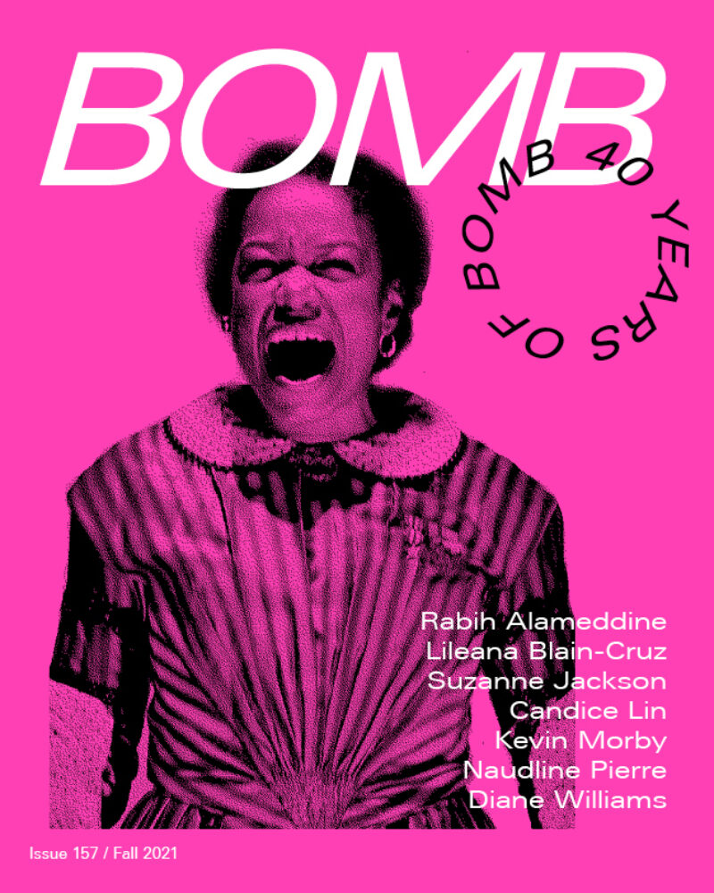 The cover of BOMB 157, Summer 2021 features a photograph of a woman screaming against a hot pink background.