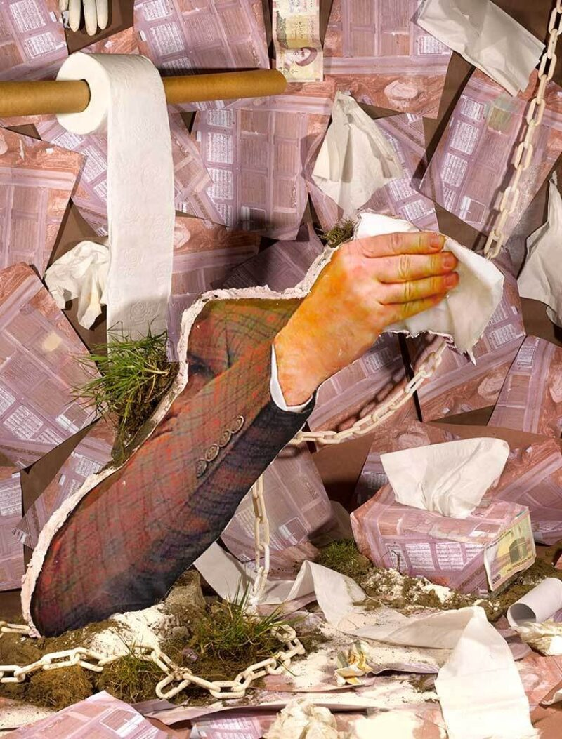 a collage featuring an arm in a suit jacket holding a tissue surrounded by boxes of tissues and a roll of toilet paper titled, Hotbed, by Sheida Soleimani